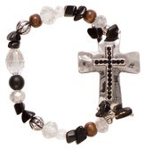 Rhinestone Cross Bracelet, Black and Brown