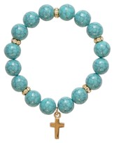 Beaded Cross Bracelet, Turquoise and Gold