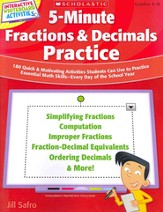 5-Minute Fractions & Decimals Practice: 180 Quick & Motivating Activities