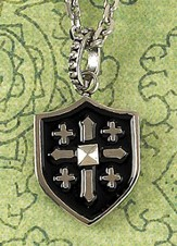 Enamel, Sheild with Raised Cross Necklace