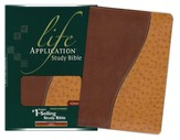 NLT Life Application Study Bible, TuTone Bonded Leather,  Brown/Ostrich Tan, Thumb-Indexed