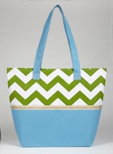 Faith Chevron Print Tote Bag, Blue and Green