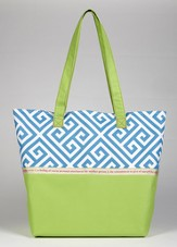 Love Greek Key Print Tote Bag, Green and Blue