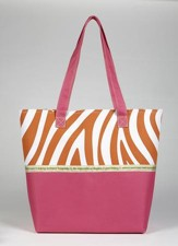 Joy Zebra Print Tote Bag, Pink and Orange