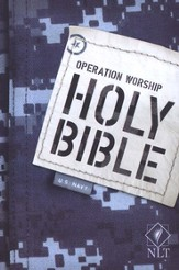NLT Operation Worship Compact Bible, Navy Softcover