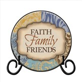 Faith, Family, Friends Plate, with Easel