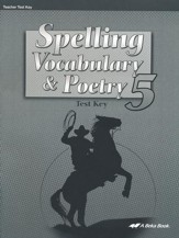 Spelling, Vocabulary, & Poetry 5 Tests Key
