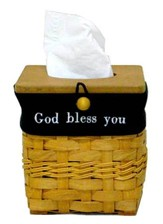 God Bless You Tissue Basket with Black Lining