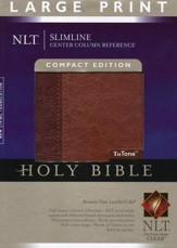 NLT Slimline Reference Bible, Large Print Compact TuTone  Leatherlike Brown/Tan, Thumb-Indexed