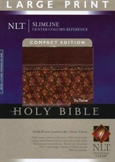 NLT Slimline Reference Bible, Large Print Compact TuTone  Leatherlike Brown/Floral Thumb-Indexed - Slightly Imperfect