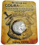 Be Strong & Courageous, Lapel Pin On Keepsake Card