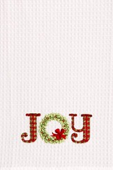 Christmas Kitchen Towel, Embroidered Joy