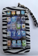 iPhone 4/4S Wristlet Case, with Cross, Zebra