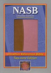 NASB Ultrathin Reference Bible-imitation leather, brown/pink - Imperfectly Imprinted Bibles