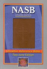 NASB Ultrathin Reference Bible--imitation leather, brown/diamond stamped