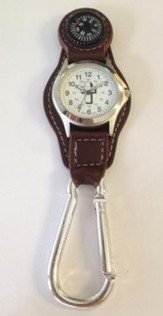 Watch Fob with Compass, Brown Strap