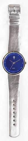 Jumbo Dial Watch, Blue Face, Silver Strap
