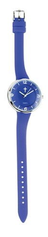 Slim Silicone Watch, with Cross, Blue