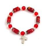 Bead Bracelet with Cross, Mom