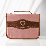 Heart Bible Cover, Suede Look, Dusty Pink and Brown, Medium