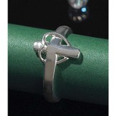 Cross with Draped Heart Ring, Size 7