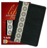 NIV Life Application Study Bible, TuTone Black/Ivory Floral Fabric Leatherlike
