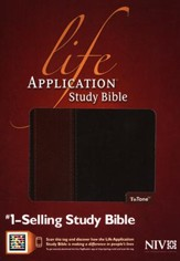 NIV Life Application Study Bible, TuTone Brown/Tan Indexed Leatherlike - Imperfectly Imprinted Bibles