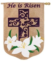 He Is Risen, Easter Lily Burlap Flag, Large