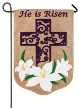 He Is Risen, Easter Lily Burlap Flag, Small