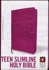 NLT Teen Slimline Bible 1 Cor 13 Hot Pink, Leatherlike