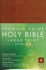 NLT Premium Value Large Print Slimline Bible, Brown Leatherlike