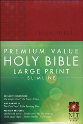 NLT Premium Value Large Print Slimline Bible, Brick Red Leatherlike