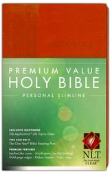 NLT Premium Value Personal Slimline Bible, Brown Leatherlike