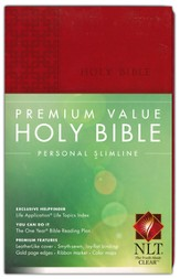 NLT Premium Value Personal Slimline Bible, Brick Red Leatherlike
