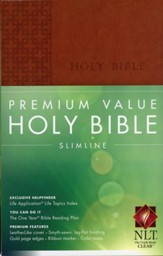 NLT Premium Value Slimline Bible, Brown Leatherlike