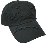 Frayed Cross Cap Black