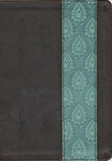 NKJV Life Application Study Bible, TuTone Dark Brown / Teal Imitation Leather - Slightly Imperfect