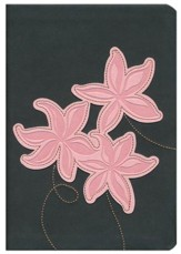 NLT Large Print Compact Edition, TuTone Leatherlike Grey/Pink Flowers - Imperfectly Imprinted Bibles