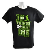 I Can Do All Things Shirt, Soccer, Black, 3X Large