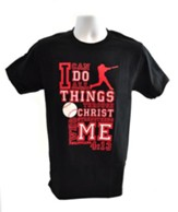 I Can Do All Things Shirt, Baseball, Black, Large