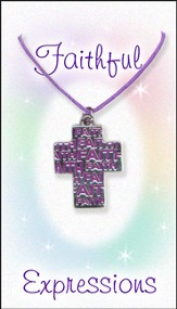 Faith Cross Necklace, Purple