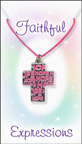Hope Cross Necklace, Pink