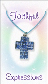 Jesus Cross Necklace, Blue