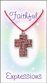 Love Cross Necklace, Red