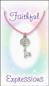 Cross Key Necklace, Pink