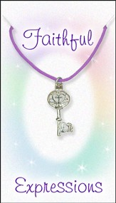 Cross Key Necklace, Purple