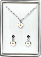 Mustard Seed Heart Necklace and Earrings Set