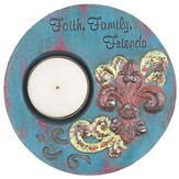 Faith, Family, Friends Tea Light Holder, Blue