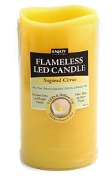 Pillar LED Candle, 3x6, Sugared Citrus