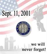 We Will Never Forget Lapel Pin, Blue